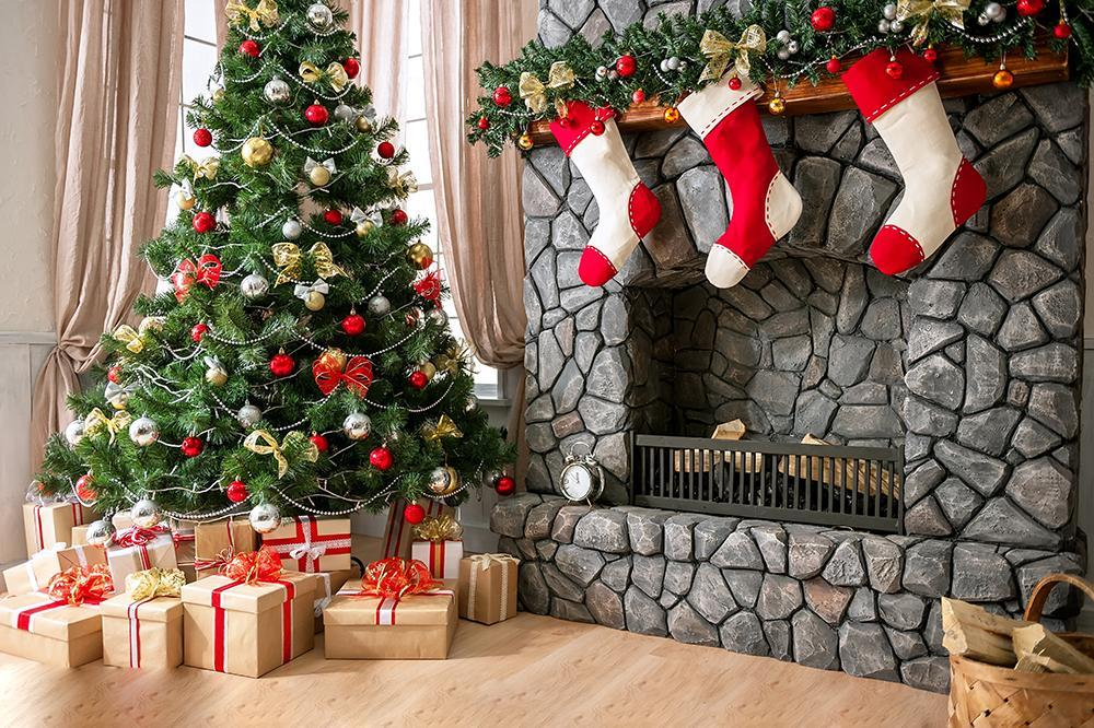 Christmas Backdrop Sock Fireplace Home Decoration DBD-H19179