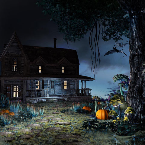 Forest Background Horrify Wood Inner Halloween Festival Backdrops IBD-19099