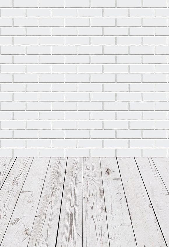 White Brick Wall Wood Floor Photo Booth Backdrop LV-013