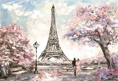 Paris Eiffel Tower Flowers Weeding Backdrop for Photography LV-1547