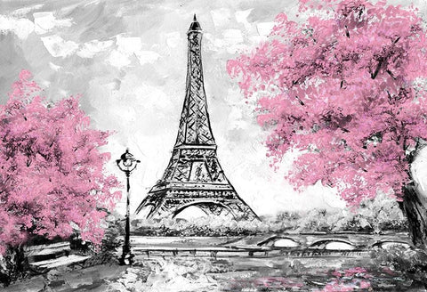 Paris Eiffel Tower Pink Flowers Tree Backdrop for Photography LV-1548