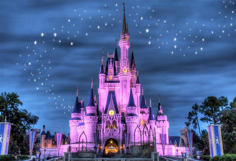 Night Castle Beautiful Sky Stars Photo Studio Backdrop LV-403