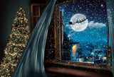 Christmas Eve Santa Elk Window Decoration UK Backdrop for Photography LV-999