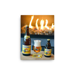 Photo of La Chouffe in front of a fireplace on a canvas print