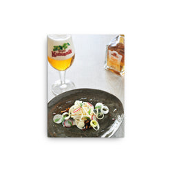 Tripel Kanunnik with food pairing portrait - on a canvas print