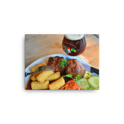 Food pairing of meat balls with Mc Chouffe beer on a canvas print