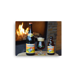Mc Chouffe by the Fireside Canvas Print