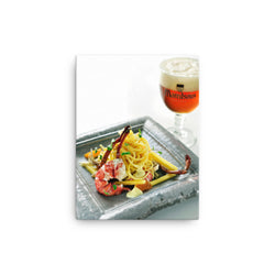 Maredsous Tripel and food close up - on a canvas print