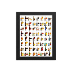 Belgian beers framed poster on high-quality paper