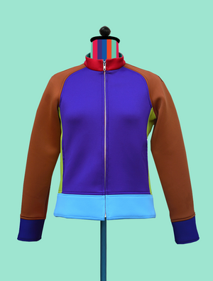 Colorblock Neoprene Bomber Jacket