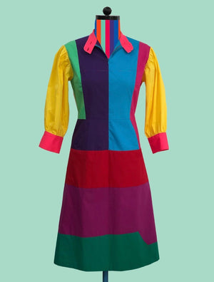 Geometric Color-Block Zip-Front Dress