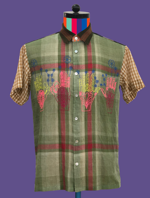Mixed Woven Check Voile Shirt with Hand Gestures