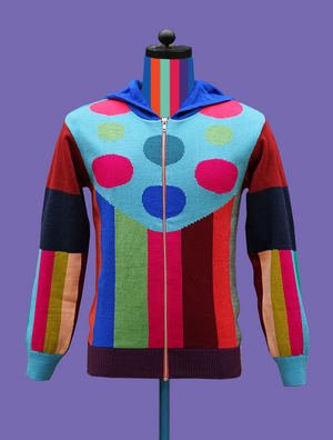 Knitted Multicolored Hoodie