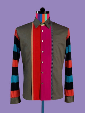 Cotton Shirt with Knitted Stripe Sleeves