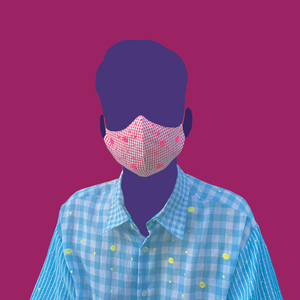 Gingham Mask with Neon-Pink Dots