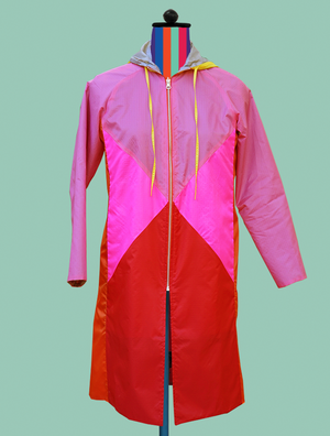 Color-Block Raincoat In Pinks