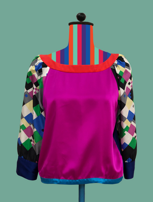 Color-Block Silk Blouse with Printed Sleeves
