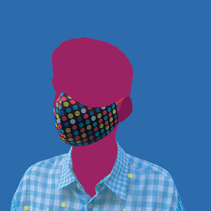 Multicolored dots on black Mask