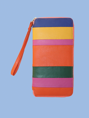 Striped Leather Clutch Wallet