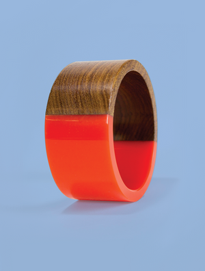 Wide Orange Resin and Wood Bracelet