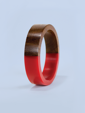 Red Resin and Wood Bracelet