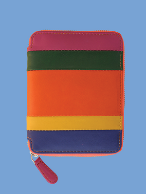 Striped Leather Passport Wallet