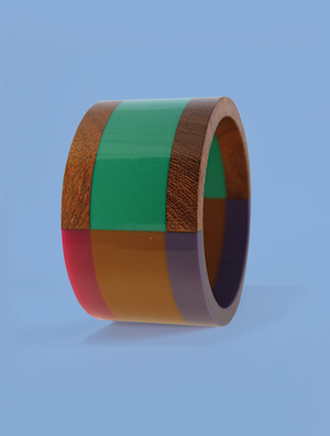 Wide Multicolored Resin and Wood Bracelet in Teal and Rose