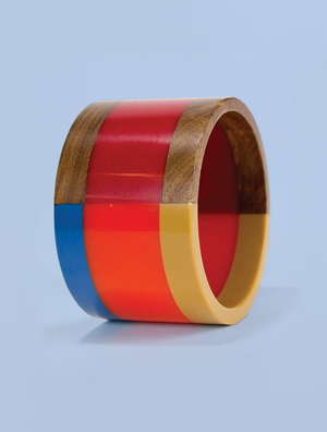 Wide Multicolored Resin and Wood Bracelet in Reds