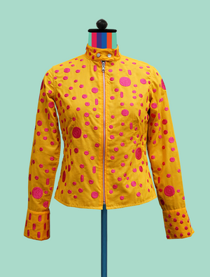 Embroidered Reversible Shirt/Jacket in Marigold