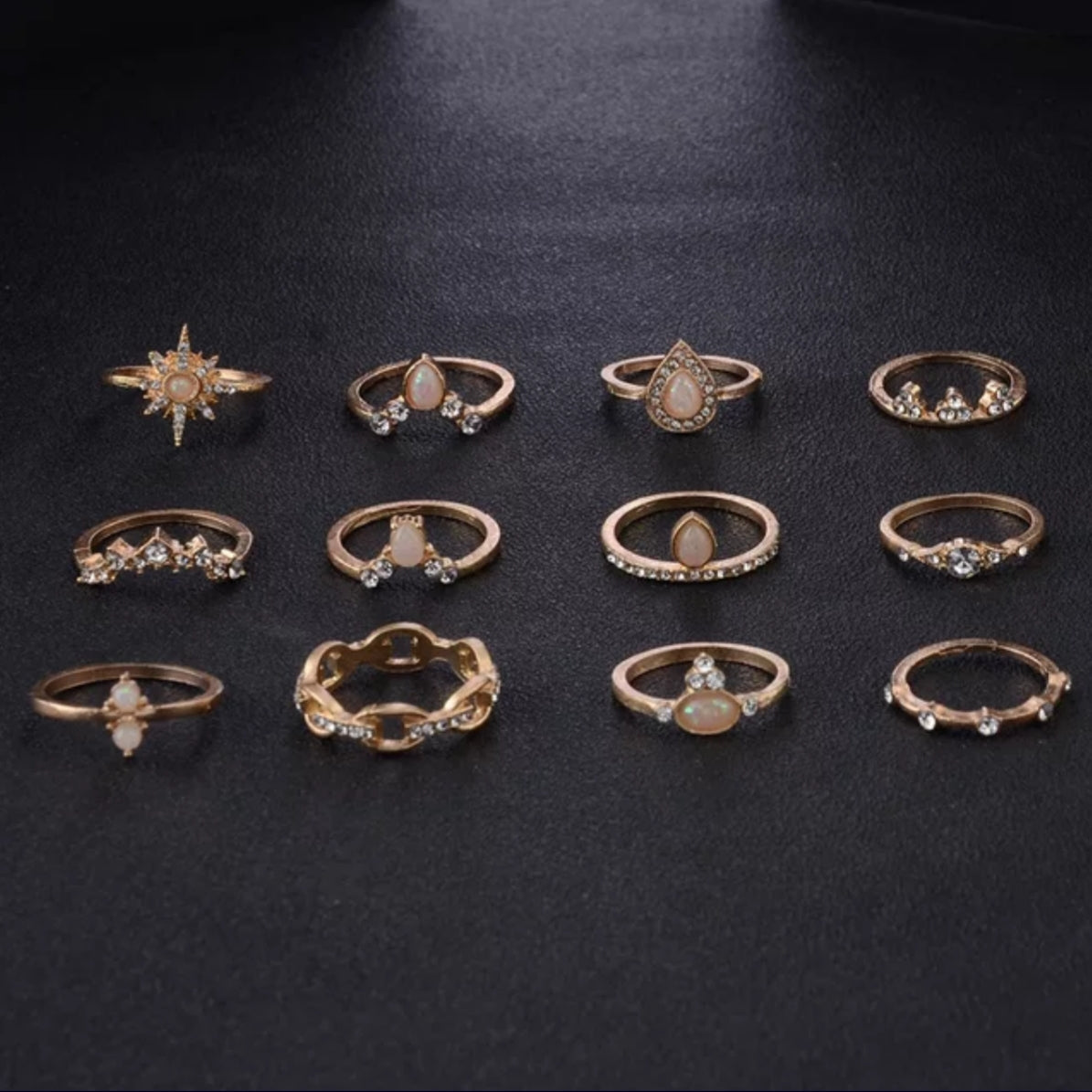 Ring set, Fashion gold ring set, different sizable rings