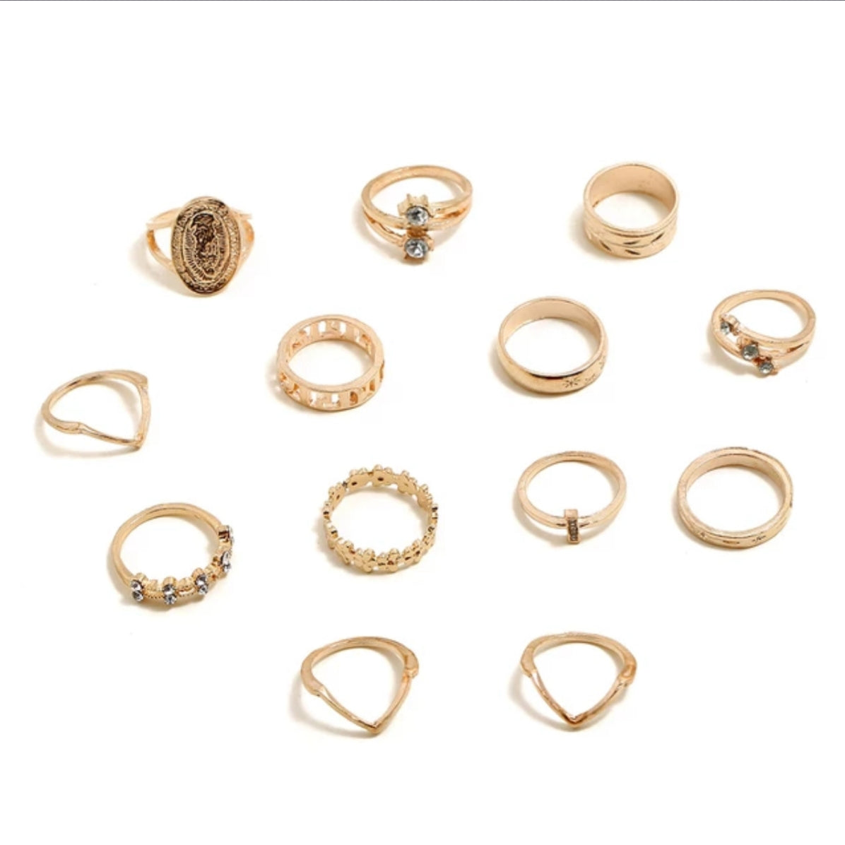 Gold ring set, mother Mary ring set