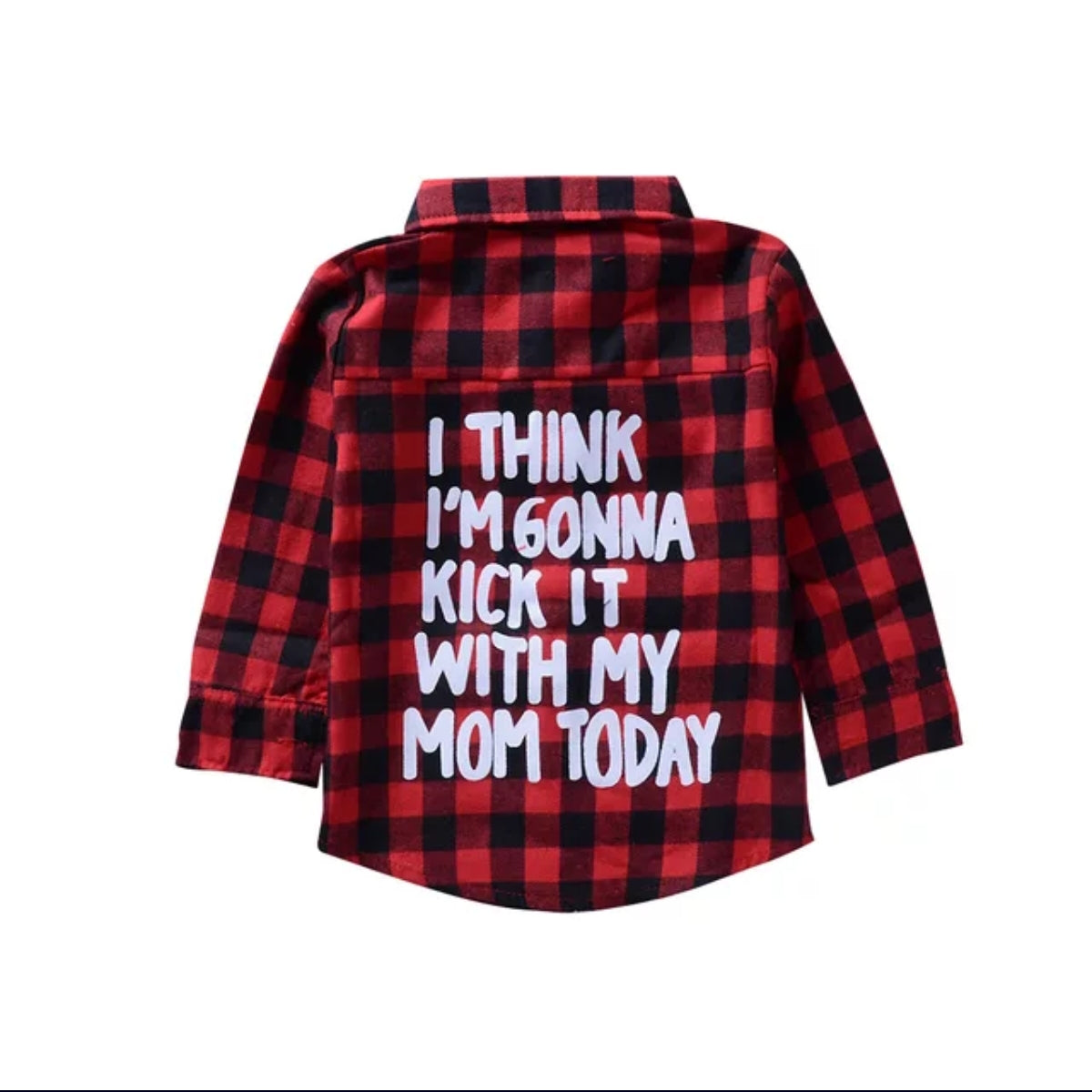 Red plaid long sleeve girls shirt/ I think I'm gonna kick it with my mom today