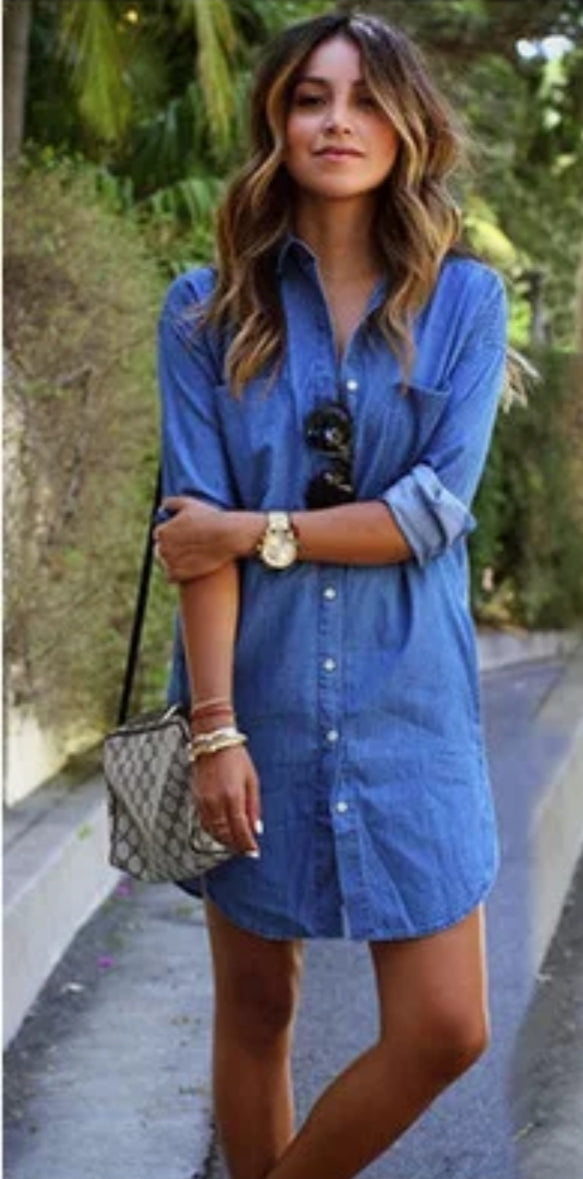 Long sleeve, long shirt, lightweight blue denim shirt