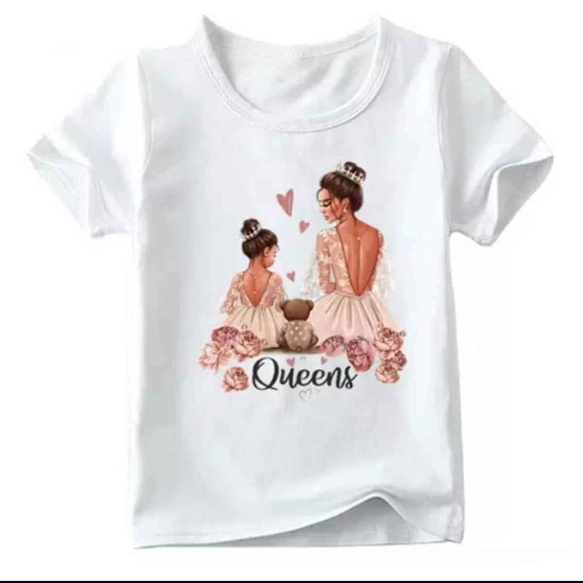 Mommy and me matching white Queen T-shirts