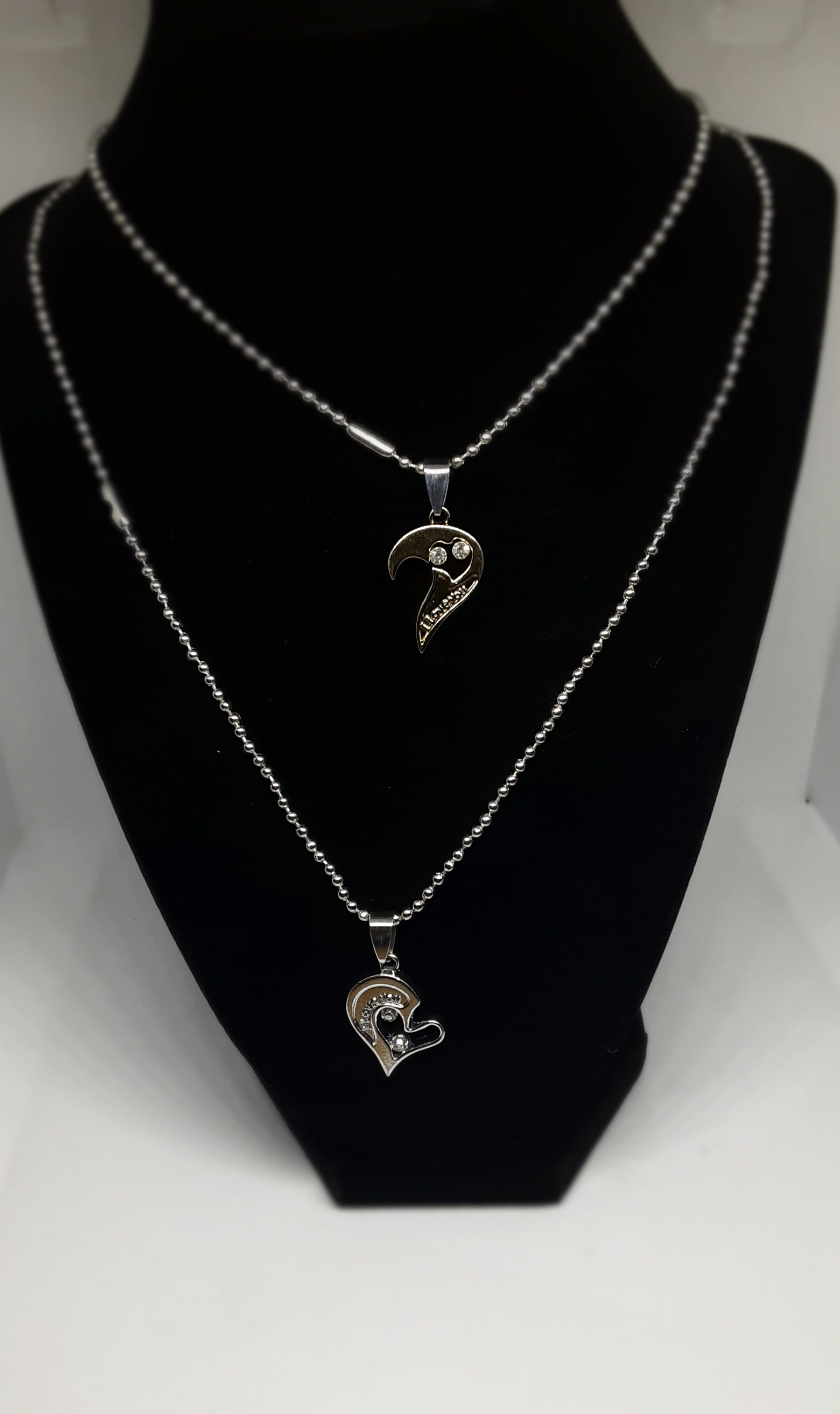 "2 piece heart ""I love you"" necklace jewelry"