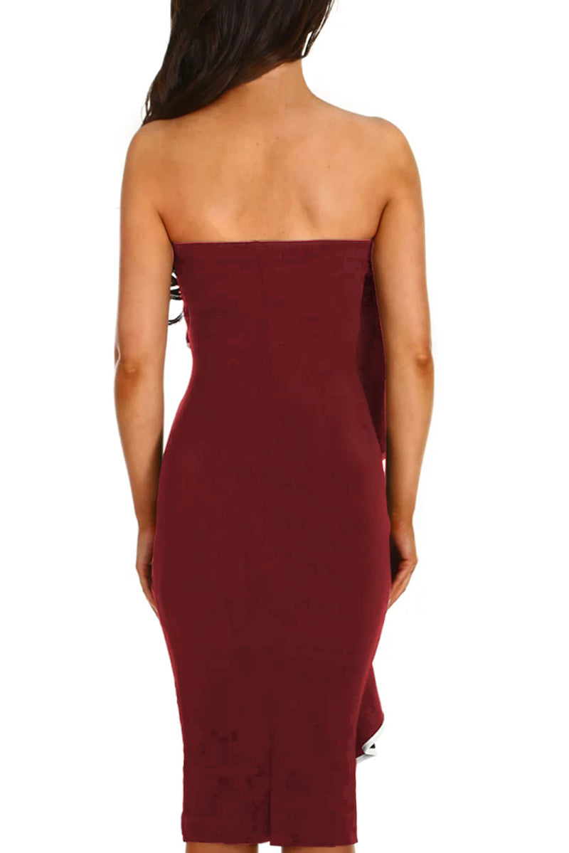 Wine Frill Strapless Midi Dress - GHA Discount