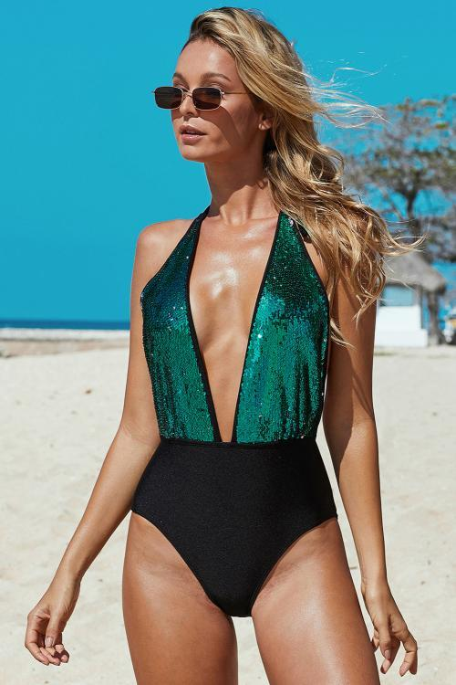 Deep V Neck To Waist Sequin One-piece Swimsuit - GHA Discount