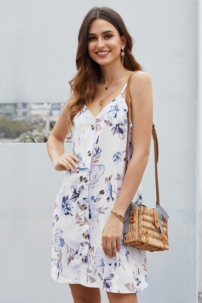 White Floral Pattern Buttoned Slip Cami Dress - GHA Discount