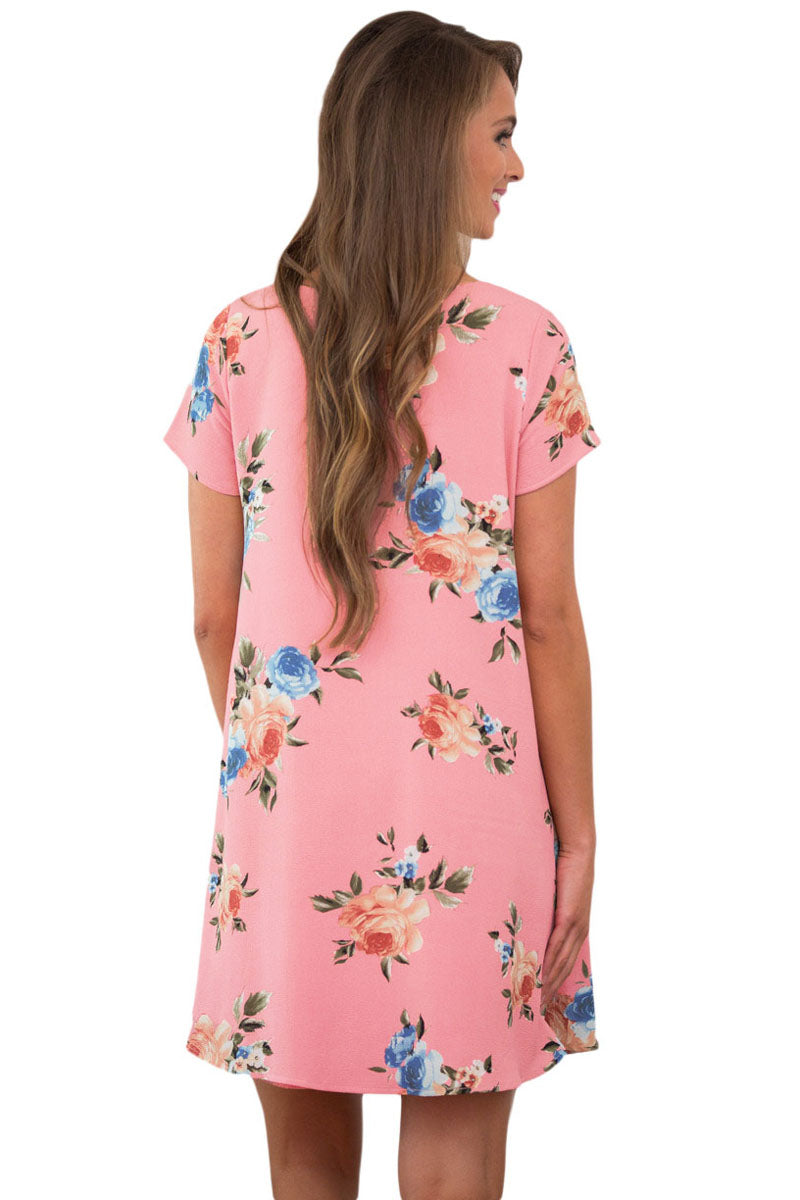Pink Pocket Design Summer Floral Shirt Dress - GHA Discount