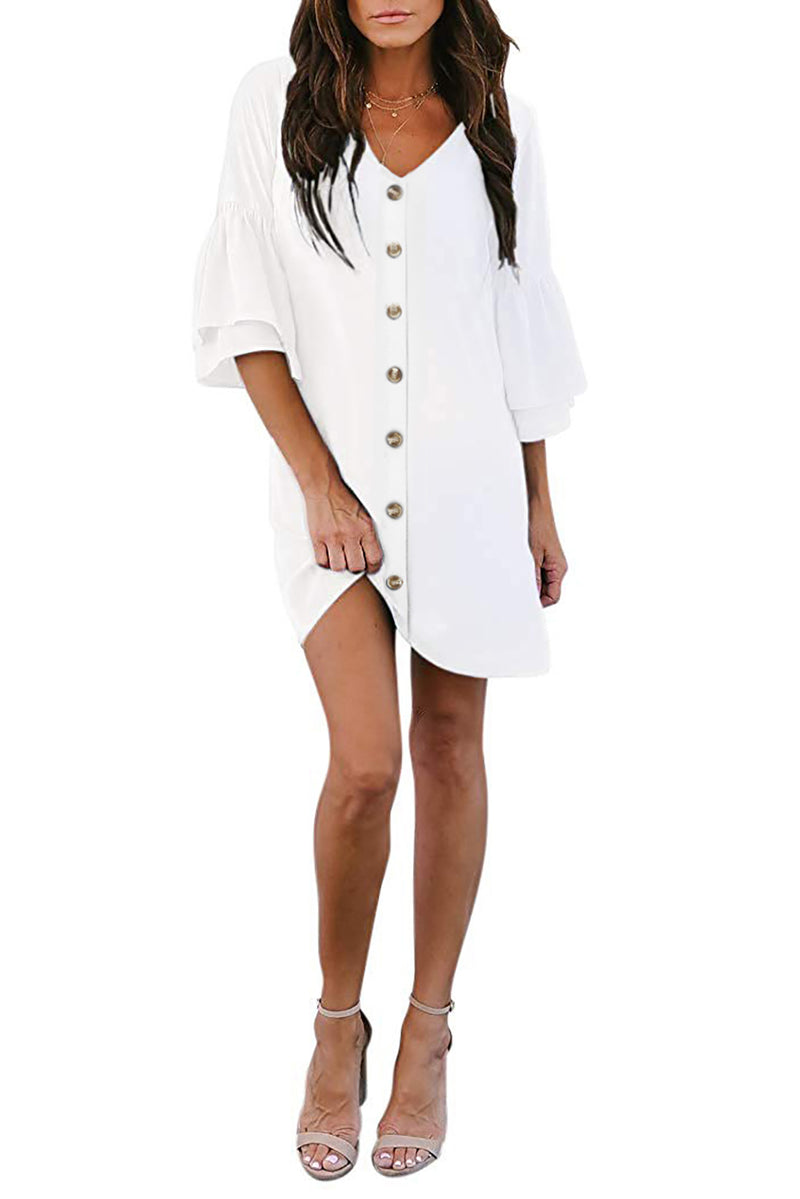 White V Neck Buttoned Bell Sleeve Shift Shirt Dress - GHA Discount