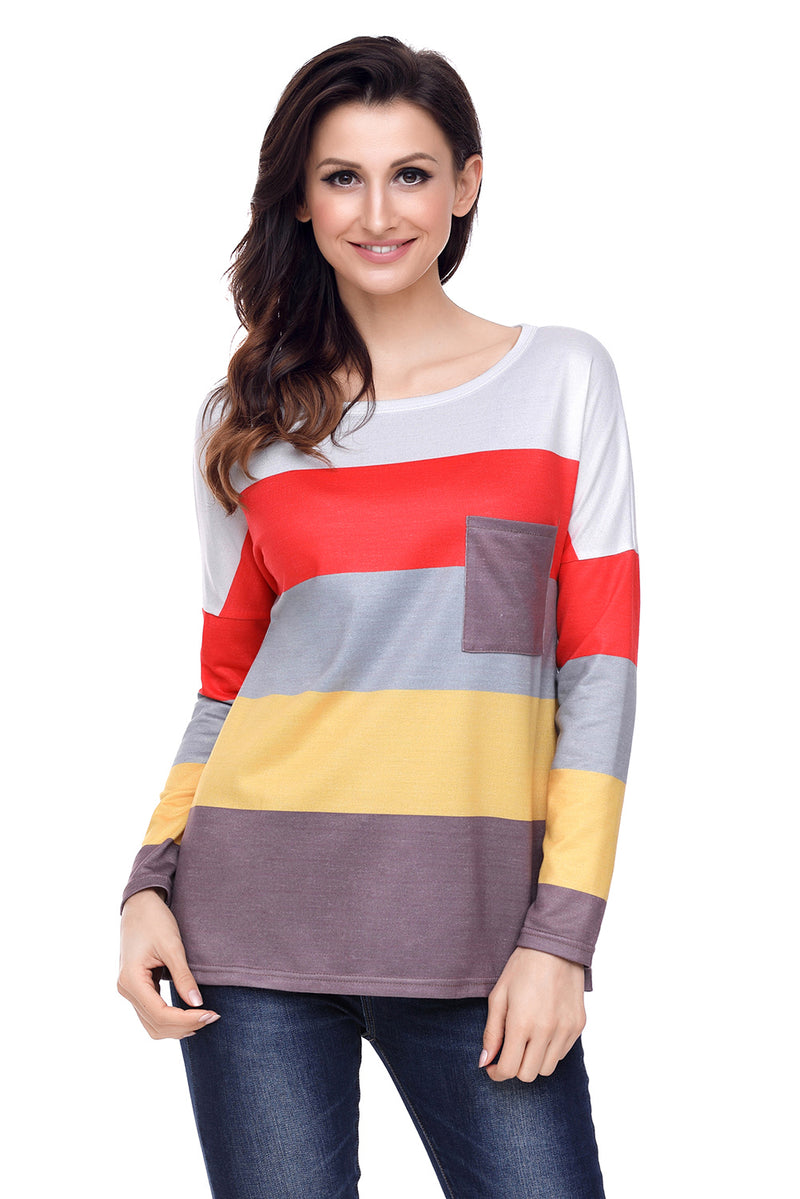 Red Yellow Colorblock Pocket Pullover Tunic Top - GHA Discount