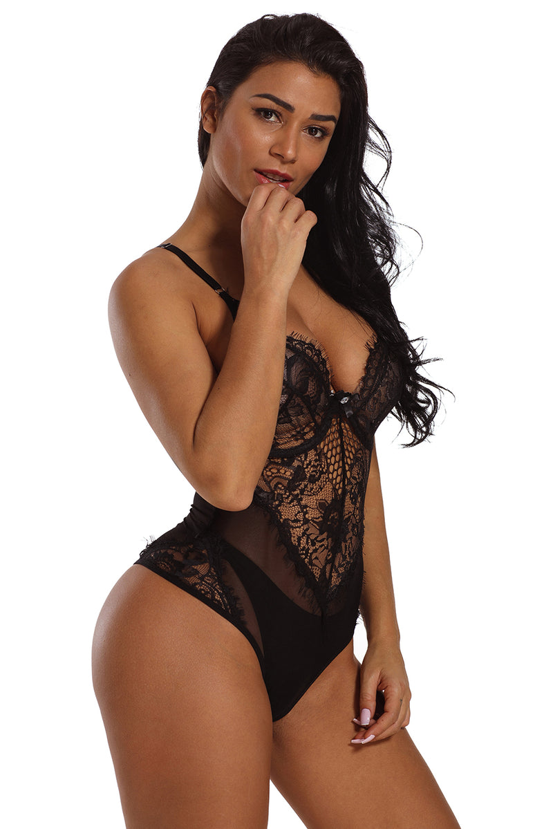 Black Sheer Mesh Lace Cupped Teddy Lingerie - GHA Discount