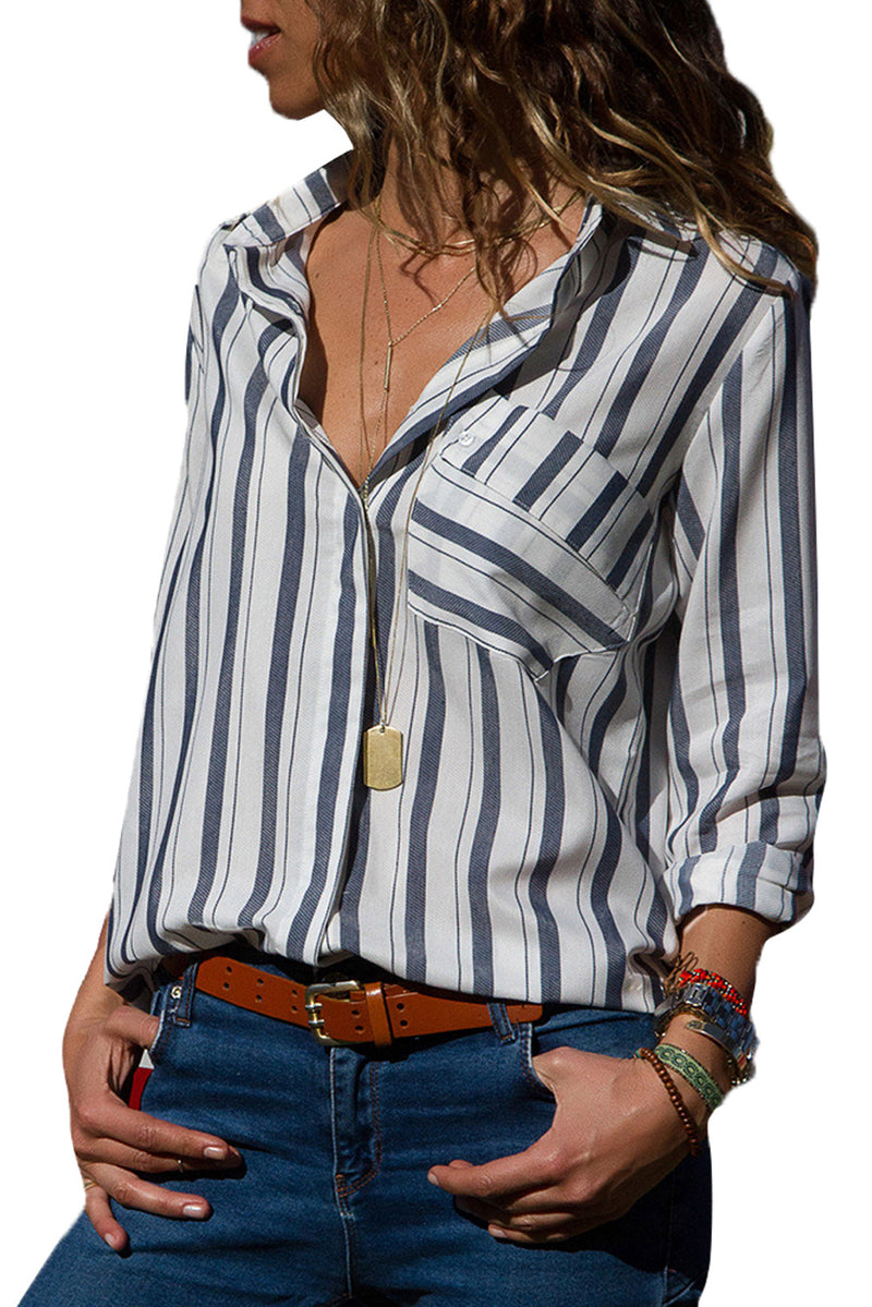 White Striped Chest Pocket Button Down Shirt - GHA Discount