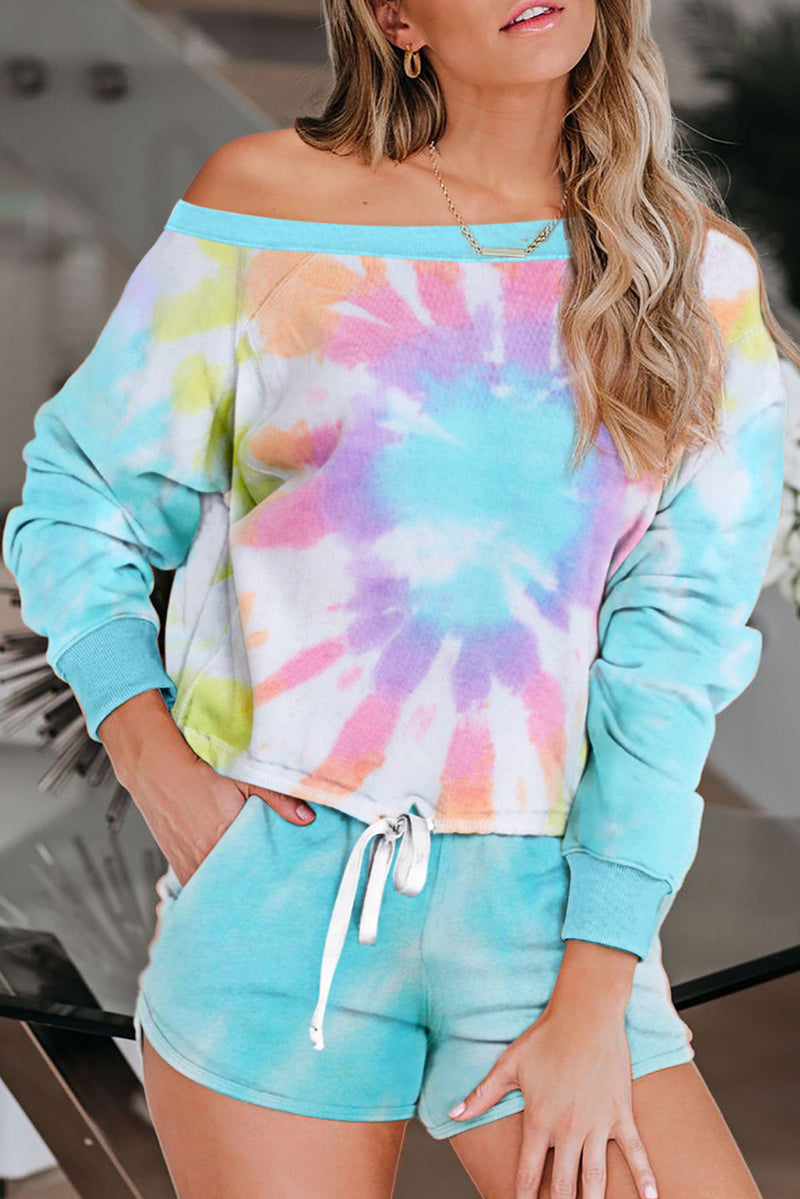 Multicolor Tie Dye Printed Long Sleeve Tops and Shorts Pajamas Set - GHA Discount