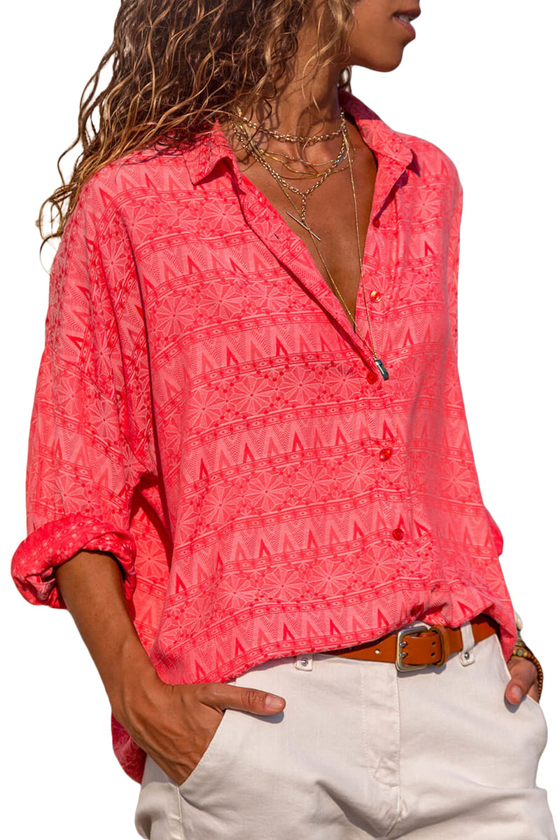 Graphic Geometry Button Down Blouse - GHA Discount