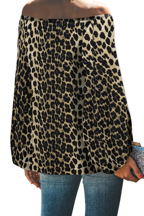 Leopard Print Elastic Neck Off Shoulder Top - GHA Discount
