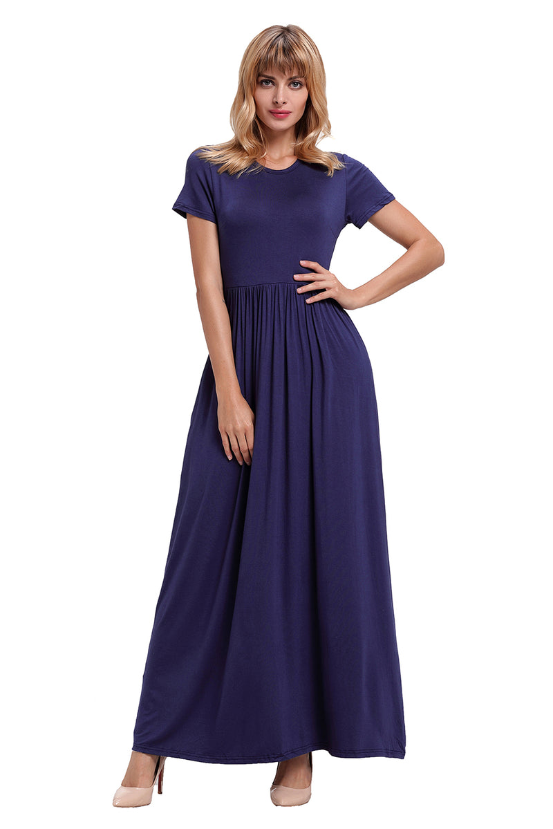 Navy Blue Short Sleeve Ruched Waist Maxi Dress - GHA Discount
