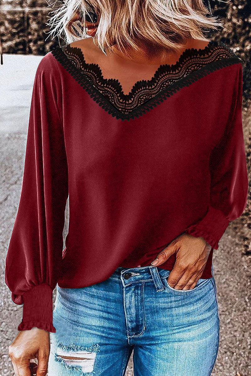 V Neck Lace Patchwork Red Blouse - GHA Discount