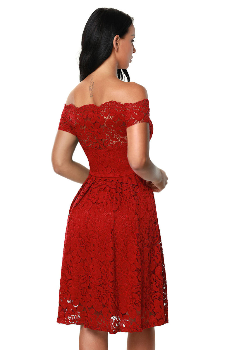 Wine Scalloped Off Shoulder Flared Lace Dress - GHA Discount