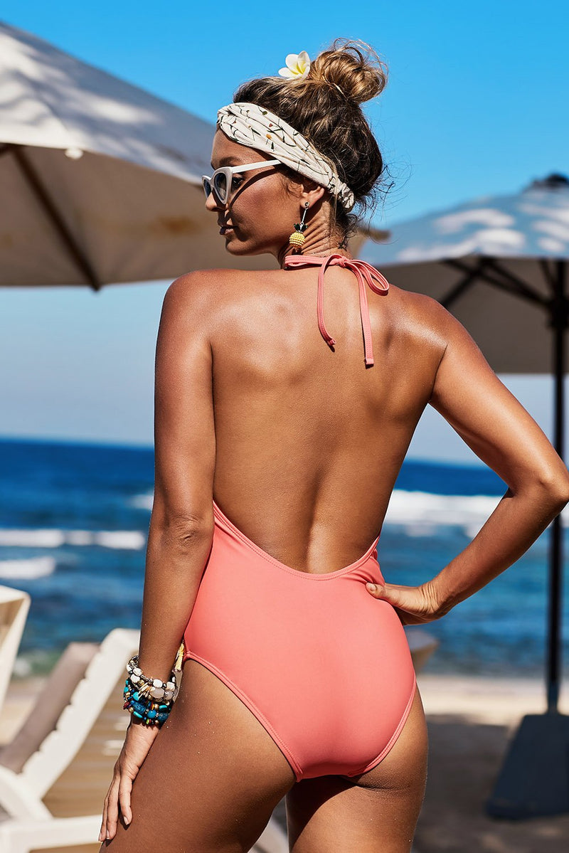 Red Mesh Patchwork One-piece Swimsuit